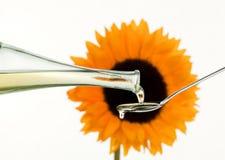 Kochendes Schmieröl und Sonnenblume Stockbilder