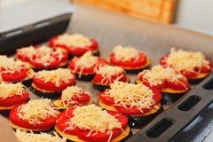 Kochfertige Auberginen mit Käse Stockfotografie