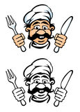 Kochgesicht mit Messer und Gabel Lizenzfreies Stockfoto