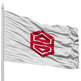 Kochi Capital City Flag on Flagpole, Flying in the Wind, Isolated on White Background Stock Images