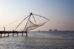 Kochi, India. Chinese fishing nets. Chinese fishnets. Kochi in province Kerala India Royalty Free Stock Photos