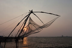 Kochi, India. Chinese fishing nets. Chinese fishnets. Kochi in province Kerala India Royalty Free Stock Images