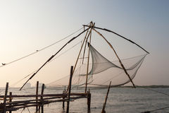 Kochi, India. Chinese fishing nets. Chinese fishnets on sunset. Kochi, Kerala, India Stock Images