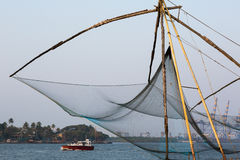 Kochi, India. Chinese fishing nets. Chinese fishnets on sunset. Kochi, Kerala, India Stock Photography
