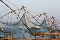 Kochi, India. Chinese fishing nets. Chinese fishnets on sunset. Kochi, Kerala, India Stock Image