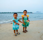 Kochi, India - February 25: An unidentified little girls standin Royalty Free Stock Photos