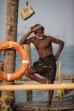 KOCHIN, INDIA-FEBRUARY 24: Fishermen on the city port on Februar Stock Photography