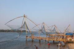 KOCHIN INDIA-FEBRUARY 24: Indiska fishemans 24, 2013 i Kochin, Arkivbilder