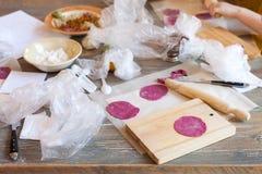 Kochkurs, kulinarisch Lebensmittel- und Leutekonzeptformteil von pelmeni oder Fleischmehlklößen Stockbild