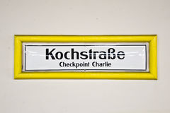 Kochstrasse checkpoint charlie, Berlin Germany. Subway station sign Kochstrasse checkpoint charlie, Berlin Germany royalty free stock images