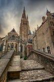 Kościół Nasz dama w Bruges, Belgia Zdjęcia Royalty Free