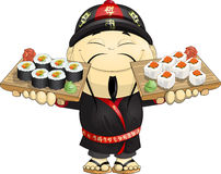 Kock av sushi Arkivfoto