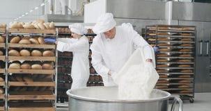 Kock bagare för för arbetsdag för bageribransch som gammal förbereder degen för att tillfoga något mjöl i behållarebakgrund hans  arkivfilmer