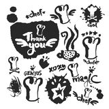 Kock Calligraphy och klotteruppsättning stock illustrationer