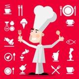 Kock Cartoon med restaurangmenysymboler på röd bakgrund stock illustrationer