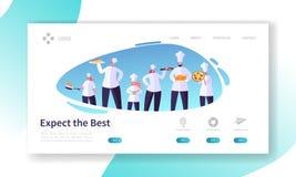 Kock Character med den fastställda landningsidan för maträtt restaurangmatlagningbegrepp Det yrkesmässiga folket i likformig förb stock illustrationer
