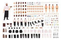 Kock-, kock- eller kökarbetarskapelseuppsättning eller DIY-sats Samling av kroppsdelar, ansiktsuttryck, ställingar som beklär stock illustrationer