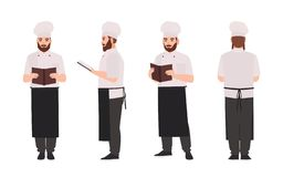 Kock, för likformig- och toqueläsning för kock eller för restaurangarbetare bärande recept eller kulinarisk bok Manligt tecknad f vektor illustrationer