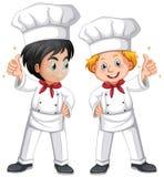 Kock för två man i den vita dräkten stock illustrationer