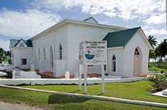 Kock Islands Christian Church (CICC) i den Aitutaki lagunkocken Is Arkivfoton