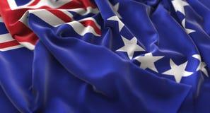 Kock Islands Flag Ruffled som vinkar Beautifully makronärbildskottet Royaltyfri Foto