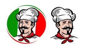 Kock logo Italiensk mat, pizza, restaurang, menyetikett den främmande tecknad filmkatten flyr illustrationtakvektorn Arkivfoton