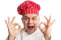 Kock med den r?da hatten som g?r uttryck fotografering för bildbyråer