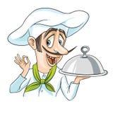 Kock med en läcker maträtt stock illustrationer