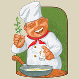Kock med kryddor stock illustrationer