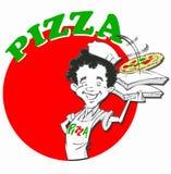 Kock med pizza Arkivfoton