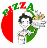 Kock med pizza Royaltyfri Fotografi