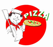 Kock med pizza Royaltyfria Foton