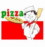 Kock med pizza Arkivbild