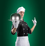 Kock med restaurangsticklingshuset med locket tolkning 3D och foto Hög upplösning Royaltyfria Foton