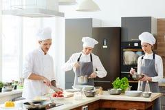Kock och hans kockar som arbetar på kök royaltyfri bild