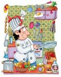 Kock på arbete i köket med krukor Royaltyfri Foto