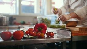 Kock som förbereder en sallad i köket av restaurangen arkivfilmer