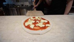 Kock som förbereder pizza med ost arkivfilmer
