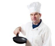 Kock som isoleras på vit Arkivfoto
