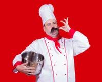 Kock som rymmer en kruka med gestgodkännande royaltyfria bilder