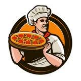 Kock som rymmer ett magasin av pizza Snabbmat restaurang, pizzerialogo också vektor för coreldrawillustration Arkivfoton