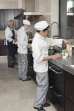 Kockar som tillsammans arbetar i kommersiellt kök royaltyfri bild