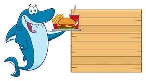 KockBlue Shark Cartoon tecken som slickar hans kanter och innehav en spatel till det trätomma brädet med textmenyn vektor illustrationer