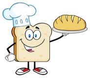 KockBread Slice Cartoon tecken som framlägger perfekt bröd stock illustrationer