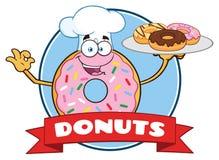 KockDonut Cartoon Mascot tecken med design för stänkcirkeletikett vektor illustrationer