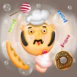 Kocken bland godisar, sötsaker och stora såpbubblor Royaltyfri Bild