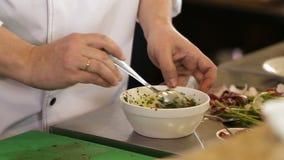 Kocken blandar en ingrediens till framställning av någon sås lager videofilmer