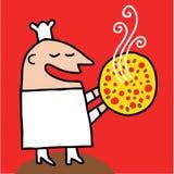kocken erbjuder rökig pizza Royaltyfri Foto