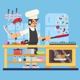 Kocken förbereder sig i illustration för köklägenhetvektor Royaltyfri Foto
