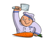 Kocken hugger av moroten Royaltyfri Foto